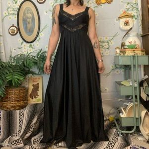 Vintage black lace full length slip cami maxi gown